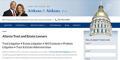 Aitkens Law Firm website