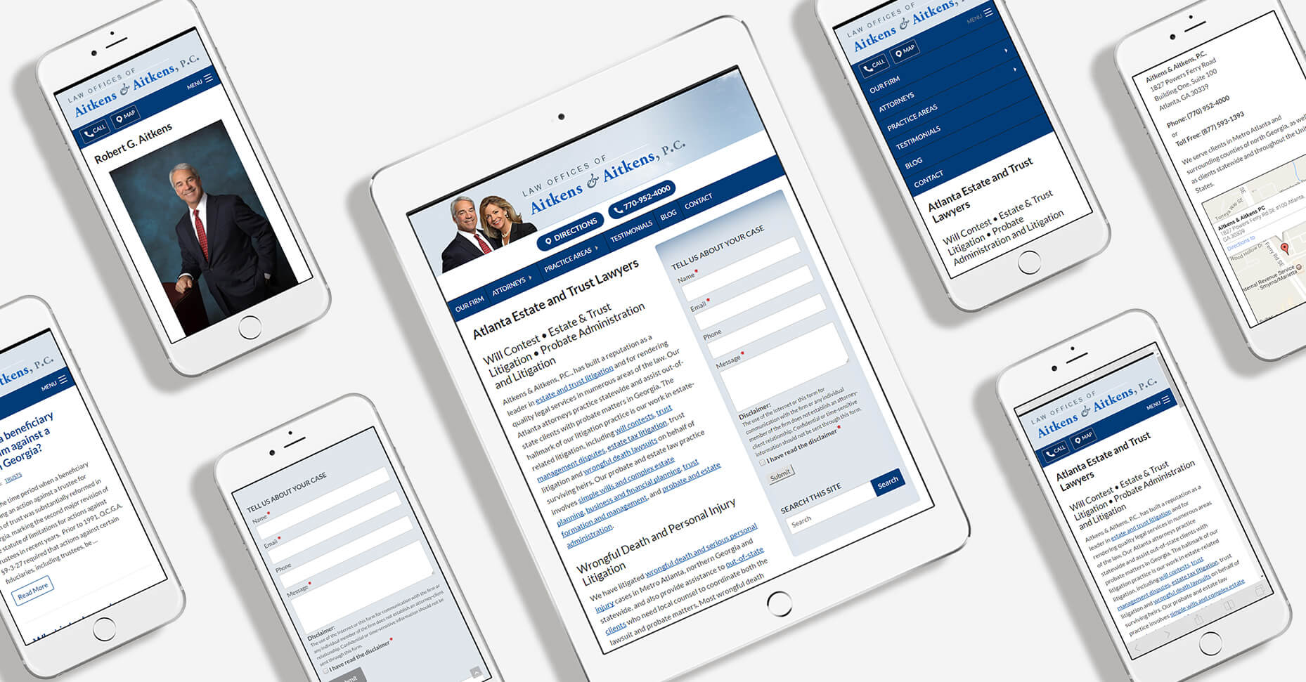 Aitkens Law Firm mobile responsive pages