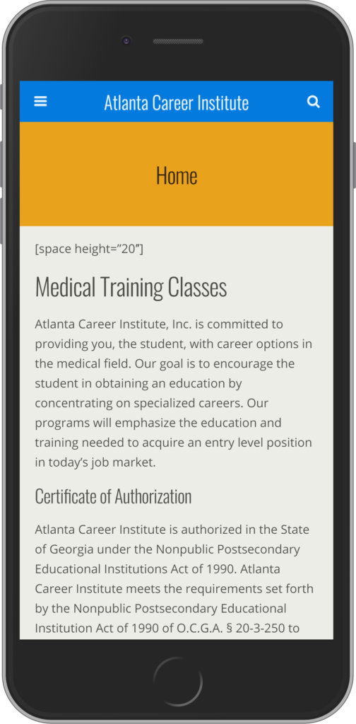screenshot of website on mobile phone before redesign